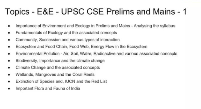 Image Showing The Syllabus Of UPSC Environment Subject.